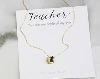 Teacher Gift, Jewelry Gift, Gift for Teacher, Apple Gift for Teacher, Gift from Student, Dainty necklace, Gift for Women, Gift under 30