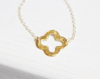 Gold Clover Necklace, Gold Quatrefoil Necklace, Lucky Necklace,  Bridesmaids Gifts, Everyday Wear Necklace
