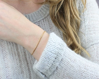 Gold Chain Bracelet- Thick Drawn Cable Chain