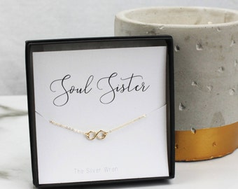 Jewelry Gift, Gift for Her, Soul Sister, Best Friend Gift, Best Friend Necklace, Dainty necklace, Gift for Women, Gold Infinity Necklace