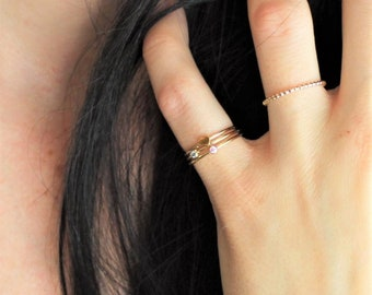 Tiny Birthstone Ring - Stackable