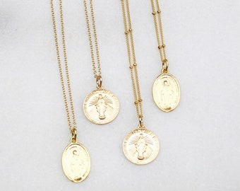 Virgin Mary Gold Charm Necklace