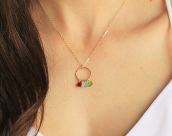 TINY Birthstones on a Ring Necklaces - in gold or silver