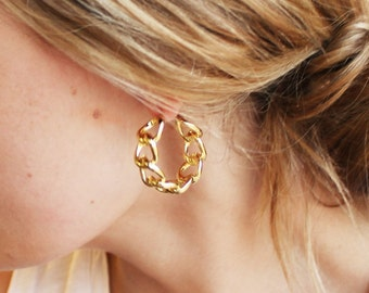 Chunky Gold Hoop Earrings - Aura Collection