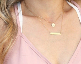 Petite Disc & Dainty Bar Layered Necklace Set