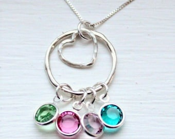 Crystal Birthstone Family Necklace in silver or gold