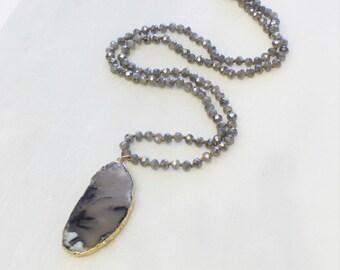 Long Pendant Necklace - Agate Slice pendant