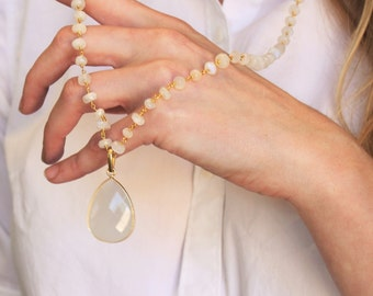 Moonstone Rosary  Long Pendant Necklace