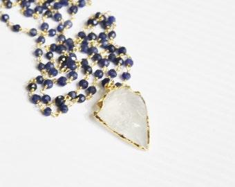 Long Arrowhead Necklace/ Arrowhead Necklace/ Crystal Quartz Arrowhead Pendant Rosary Chain Necklace/ Long Layering Necklace/ Layer Necklace
