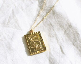 Gold Dragon Pendant Necklace