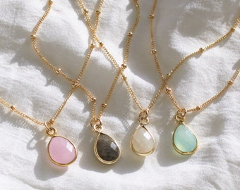 Dainty Teardrop Gold Necklace - Choose your stone color