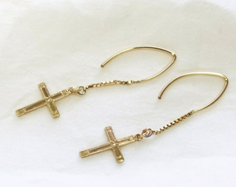 Gold Cross Dangle Earrings