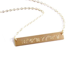 Custom Coordinates Bar Necklace in Silver or Gold