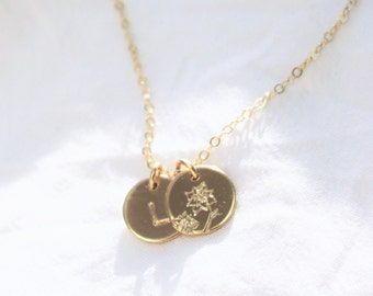 Birth Month Flower Charm Necklace - Petite Disc, up to 3 discs