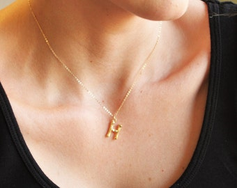 Bamboo Initial Pendant Necklace - Aura Collection