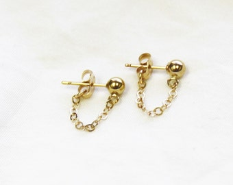 Chelsea - Gold Ball Chain Drop Earrings
