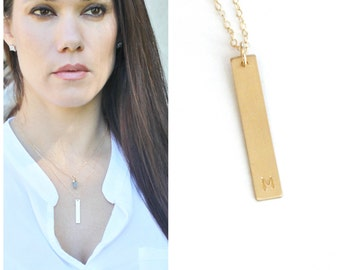 Initial Necklace, Initial Bar Necklace, Gold Necklace, Personalized Necklace, Gold Necklace Dainty, 1, 2 or 3  Vertical Gold Bar necklace