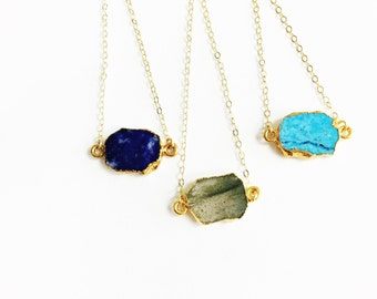 Dainty Gemstone Slice Necklace