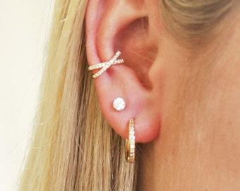 Set of 3 Earrings, Crossed Gold CZ Ear Cuff, CZ Studs & CZ Huggie Hoops