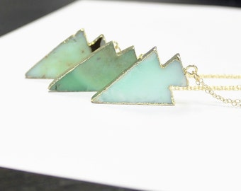 Chrysoprase Arrowhead Necklace