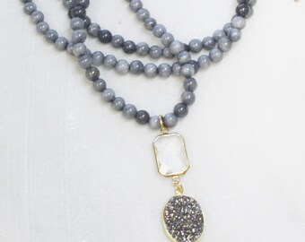 Long Pendant Necklace - Gray Jade