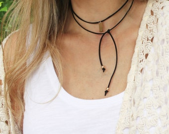 Black Wrap Choker Necklace, Initial Necklace, Tie Necklace, Choker Necklace, Boho Necklace, Choker Wrap Necklace Bolo Necklace