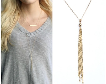 Gold Necklace, Tassel Necklace, Long Necklace, Long Layering Necklace, Long Tassel Necklace, 14kt Gold Filled Layering Necklace