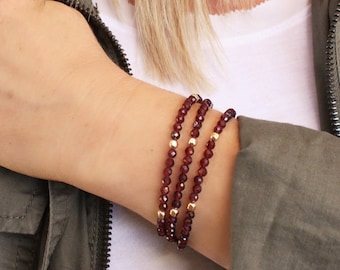 Garnet or Quartz Wrap Bracelet