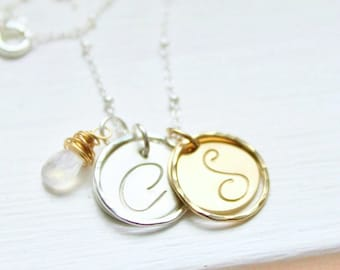 Initial Necklace with Moonstone Charm