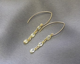 CZ Drop Gold Earrings