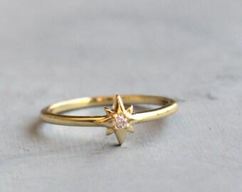 CZ Gold & Star Ring