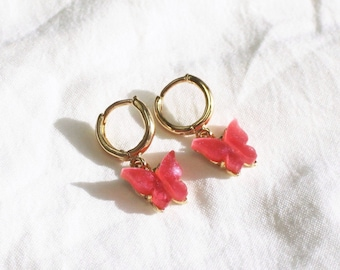 Butterfly Gold Hoop Earrings