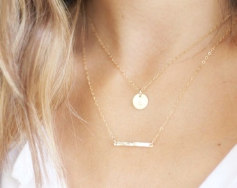 Personalized Necklace, Initial Necklace, Layered Necklace, Gold Bar Necklace, Layering Necklace Set, Delicate Gold Necklace, Gift for Her