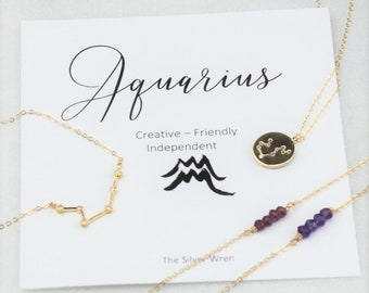 Inspirational Gift, Aquarius, Zodiac Necklace, Birthday Gifts for her, Celestial Jewelry, Constellation, Zodiac Jewelry, Gift for Aquarius