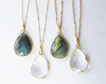 Long Necklace, Crystal Long Pendant Necklace, Teardrop Gold Necklace  Long Stone Necklace Long Layering Necklace Gemstone Statement Necklace