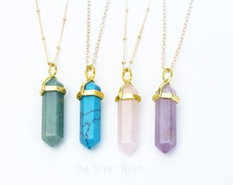 Crystal Point Necklace/ Long Crystal Necklace/ Gold Crystal Necklace/ Crystal Pendant Gold Chain/ Long Layering Necklace/ Quartz Crystal