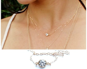 Delicate Necklace, Silver or Gold Necklace, Dainty Necklace CZ Solitaire Necklace, Layering Necklace, Floating CZ Necklace,