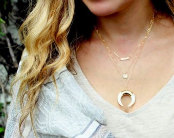 Horn Necklace, Boho Chic Necklace, Gold Layering Necklace, Moon Necklace Double Horn Necklace, Long Necklace, Statement Necklace