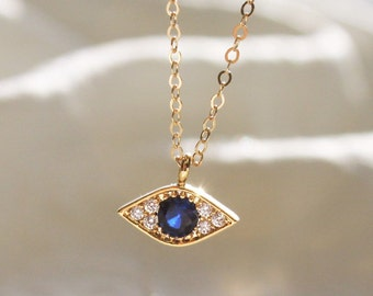 Tiny Evil Eye Necklace, Evil Eye Charm Necklace, Unique Gift, CZ & Gold Protection Necklace, Dainty Necklace, Jewelry, BFF Gifts DN225