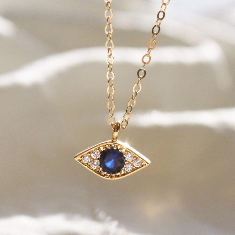 Tiny Evil Eye Necklace Evil Eye Charm Necklace Unique Gift image 0