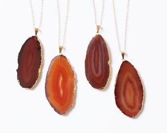 Long Stone Necklace, The Silver Wren, Long Necklace, Agate Necklace, Agate Jewelry, Gold Dipped Amber Brown Agate, Long Pendant Necklace