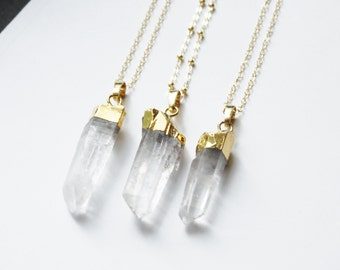 Long Crystal Necklace, Large Raw Crystal Necklace, Crystal Pendant Necklace, Quartz Crystal Long Necklace, Layering Necklace, Boho Jewelry