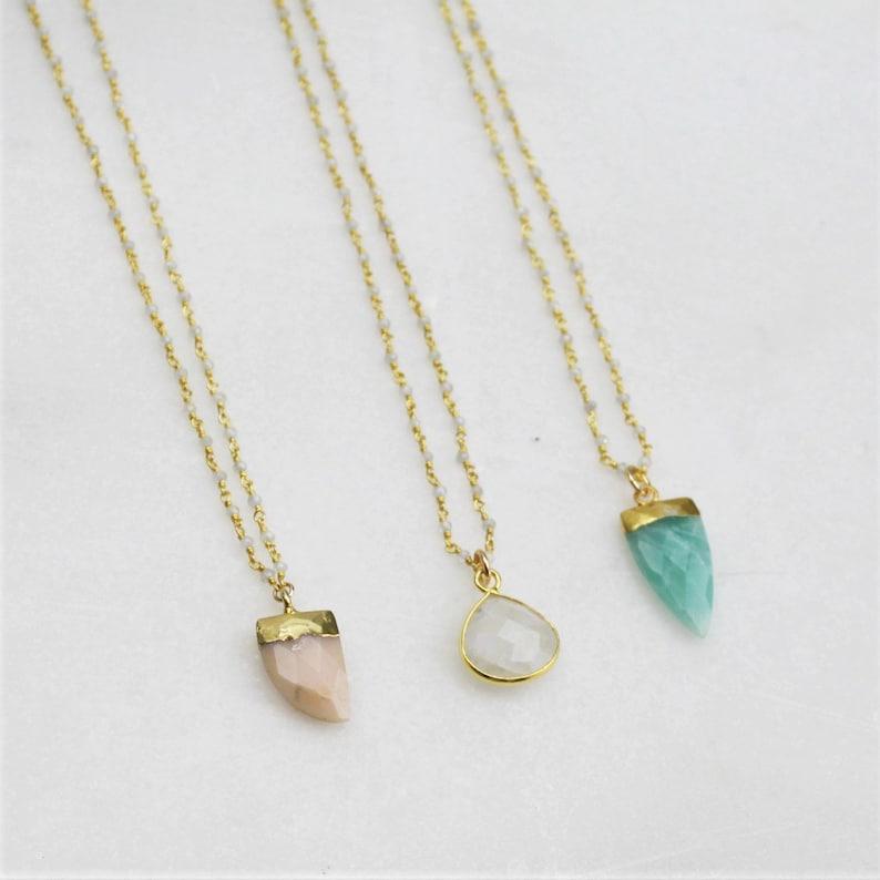 Long Necklace Long Pendant Necklace Bridesmaids Gift Custom Long Layering Necklace Gemstone Necklace Gold Necklace Long Stone Necklace