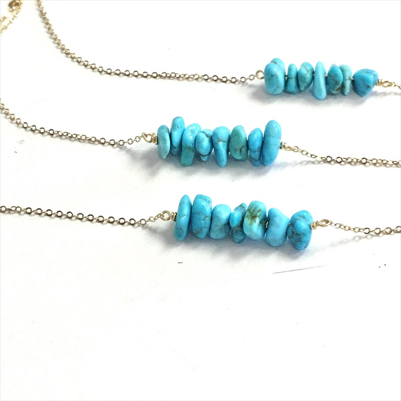 Boho Necklace Turquoise Jewelry Gifts for Her Silver or Gold Layering Necklace Real Turquoise Necklace Real Kingman Turquoise