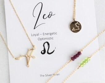 Leo Zodiac, Leo Necklace, Zodiac Jewelry, August Birthstone Necklace, August Birthday Gift, Constellation Necklace, Zodiac Gifts, Celestial