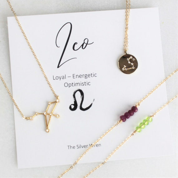 Leo Zodiac Leo Necklace Zodiac Jewelry August Birthstone Etsy
