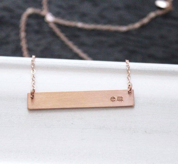 rose gold bar necklace rose gold nameplate necklace etsy