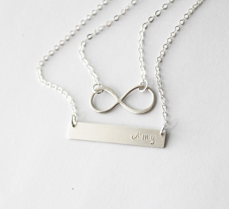 44cc2fc09d433 Infinity Layered Necklace Set Silver Rose or Gold Bar