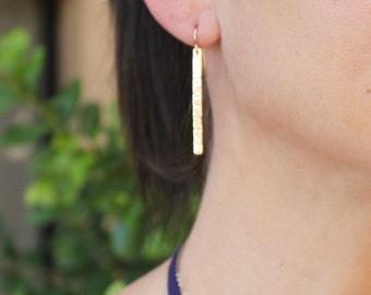 Long Bar Earrings, Dangling Earrings, Drop Earrings, Rose, Silver or Gold Earrings, Simple Earrings Minimal, Modern, Gift for Her