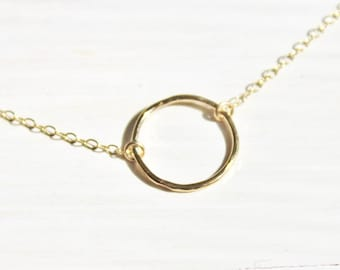 Dainty Gold Necklace, Simple Gold Necklace, Gift for Her, Gold Eternity Necklace, Girlfriend Gift, Bridesmaids Necklace, Layer Necklace